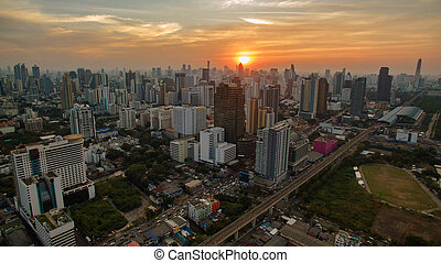 aerial view unseen skyscraper in heart of bangkok thailand capital sun set time