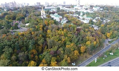 Aerial view video of the right bank of Kiev slopes in...