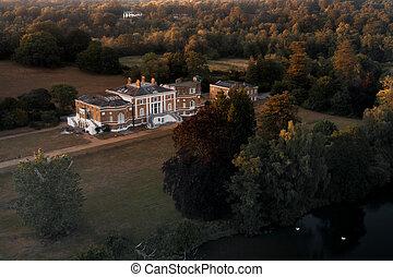 Aerial view Waverley Abbey House, grade II Georgian mansion located near Farnham