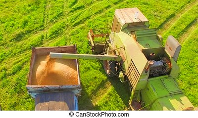 AERIAL VIEW. Wheat Harvesting