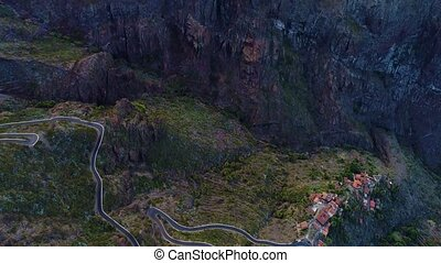 aerial view winding road near Masca gorge