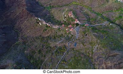 aerial view winding road near Masca gorge - flight over...