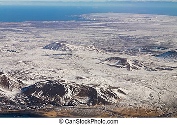 Aerial view winter season mountain Iceland
