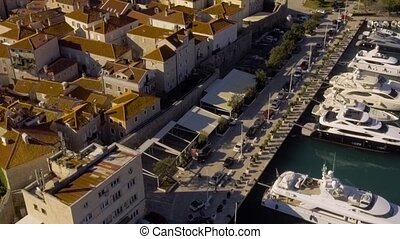Aerial View - Yachts In Port In Old Town Budva - Aerial View...
