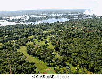 Aerial view Zambezi river Zimbabwe