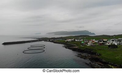 Aerial viewof the town in the Faroe Islands, a territory of...