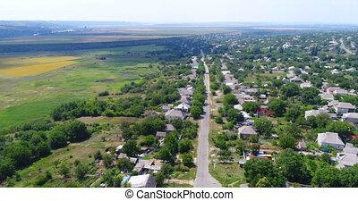 Aerial village landscape - Aerial village with landmark, ...