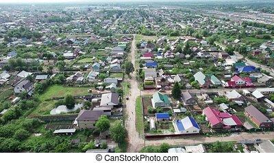 Aerial view russian village panorama, housing estates Kinel town