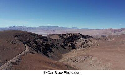 Aerial, Vista del Llullaillaco, Salar de Arizaro, Argentina...