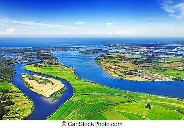 Aerial waterways - Aerial view of coastal waterways, blue...
