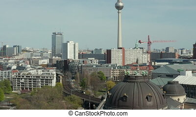 AERIAL: Wide View of Empty Berlin with Spree River and Museums and View of Alexanderplatz TV Tower During COVID 19 Coronavirus HD