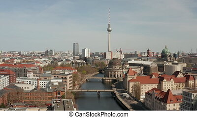 AERIAL: Wide View of Empty Berlin with Spree River and Museums and View of Alexanderplatz TV Tower During COVID 19 Coronavirus June 2020 4K