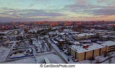 Aerial winter scene of St. Petersburg in early morning, Russia