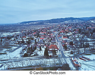 Aerial winter sunset landscape from a Hungarian village Balatongyorok
