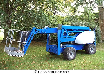 Mechanical device consists of a platform or bucket at the end of a hydraulic lifting system used in orchards, maintenance, construction, window cleaning, and emergency.
