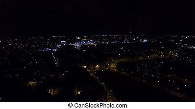 Aerial: Wroclaw at night, Poland