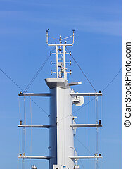 Aerials and communication tower on ship