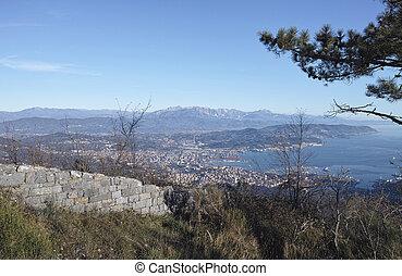 aerialview of La Spezia Gulf in Italy