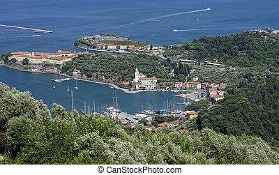 aerialview of le grazie a beautiful village near la spezia