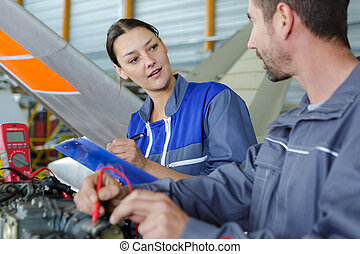 aero, apprenti, ingénieur, hangar, fonctionnement