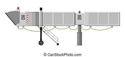 Aero bridge or jetway. Telescopic ladder for airport. Ramp, ...