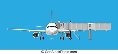 Aero bridge or jetway with aircraft - Airplane front view. ...