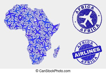 Aero Collage Vector Africa Map and Grunge Stamps