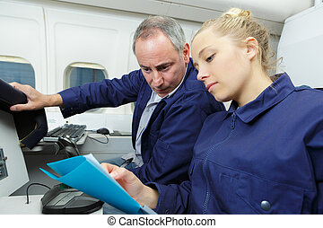 aero, ingénieur, fonctionnement, apprenti, ensemble