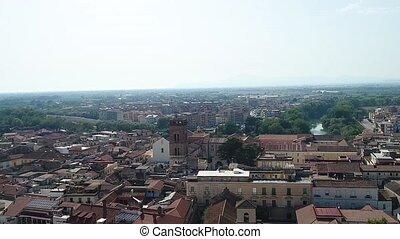 Aero shooting, an old Italian city, historic