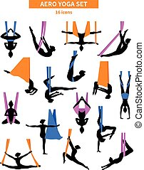 Aero Yoga Black White Icon Set