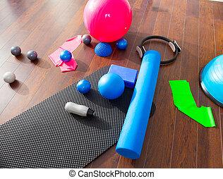 aerob, pilates, füllen, mögen, matte, kugeln, rolle,...