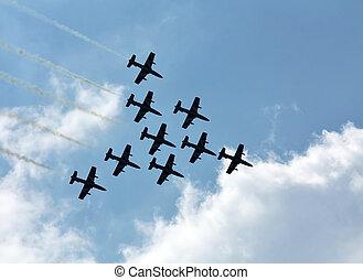 aerobatic, 組, 上, the, 背景, ......的, 白色的云霧