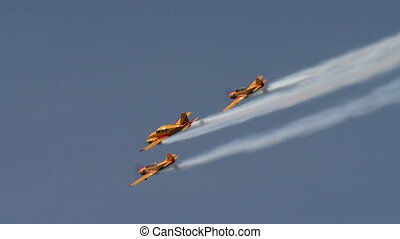 Aerobatics. View of planes fly in formation