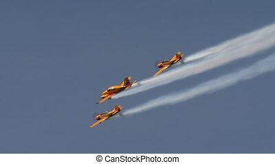 aerobatics., vue, de, avions, mouche, dans, formation