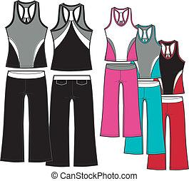aerobic, állhatatos, hölgy, sportszerű