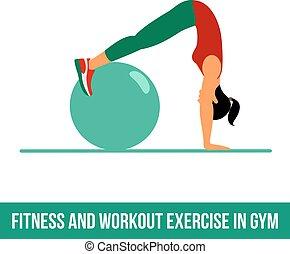 aerobic, bal, icons., oefening