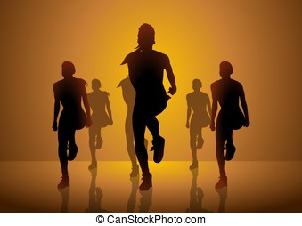 Aerobic - Silhouette illustration of women figures doing...