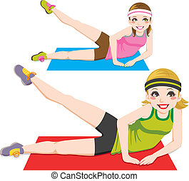 Aerobic Exercise - Two beautiful girls doing aerobic workout...