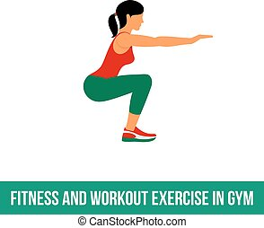 Aerobic icons. full color 05 - Fitness, Aerobic and workout...