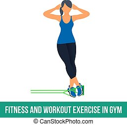 Workout WITH RESISTANCE BAND. Fitness, Aerobic and workout exercise in gym. Vector set of workout icons in flat style isolated on white background.