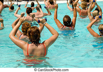 Aerobic in pool - People are doing aerobic in pool