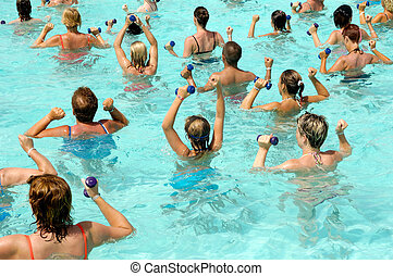 Aerobic in pool - People are doing aerobic in pool