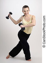 aerobic instructor exercising