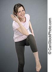 aerobic instructor teaching - white instructor training...