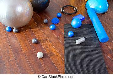 Aerobic Pilates stuff like mat balls roller magic ring...