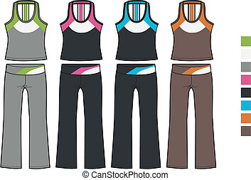 aerobic, set, dame, sportief