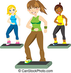 Aerobic Steps - Three attractive women happily exercising...