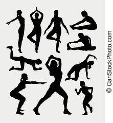 Aerobic women sport silhouettes