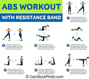 aerobic workout, abs, icons.