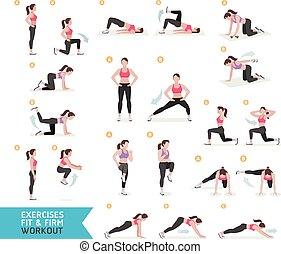aerobic workout, frau, fitness
